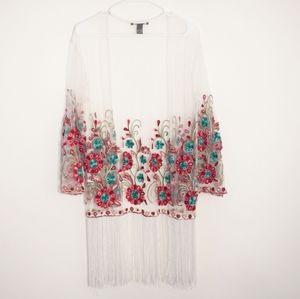 FOREVER 21 Embroidered Rose Sheer Fringe Kimono